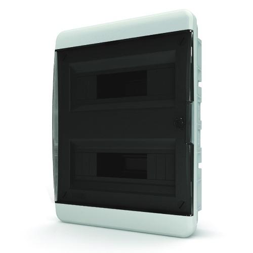 Щит распределительный встраиваемый Tekfor B IP41 на 24 модуля с прозрачной черной дверцей