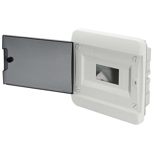 Щит распределительный встраиваемый Tekfor B IP41 на 8 модулей с прозрачной черной дверцей