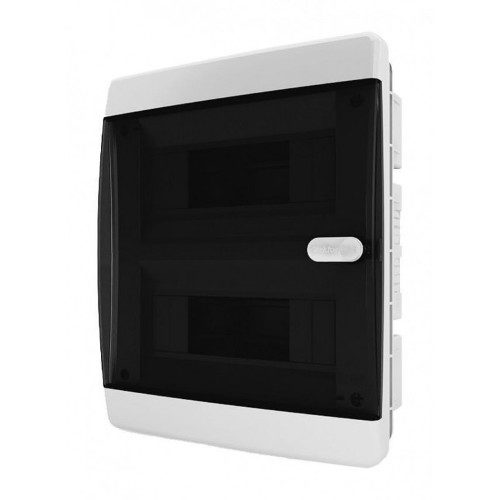 Щит распределительный встраиваемый в нишу Tekfor C IP41 на 18 модулей с прозрачной черной дверцей