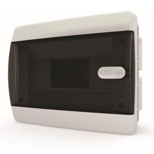 Щит распределительный встраиваемый в нишу Tekfor C IP41 на 8 модулей с прозрачной черной дверцей