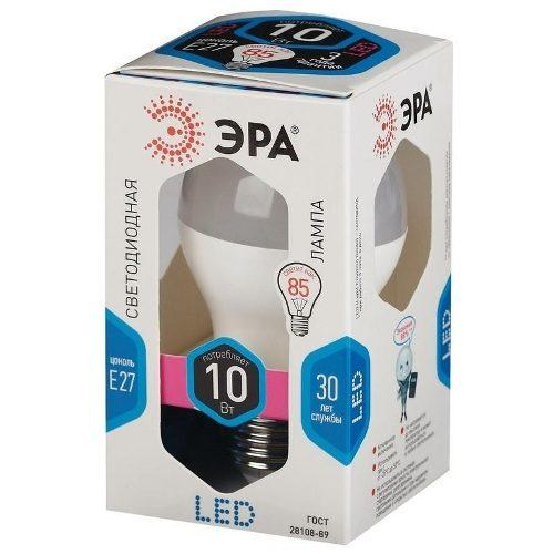 Лампа светодиодная 10 (85) Вт цоколь E27 грушевидная холодный белый свет 30000 ч. LED SMD A60-10W-840-E27 ЭРА