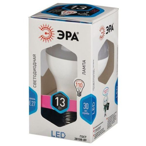 Лампа светодиодная 13 (110) Вт цоколь E27 грушевидная холодный белый свет 30000 ч. LED SMD A60/А65-13W-840-E27 ЭРА