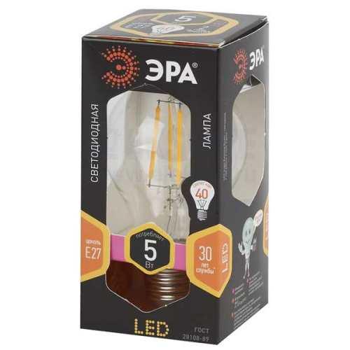 Лампа светодиодная 5 (40) Вт цоколь E27 грушевидная теплый белый свет 30000 ч. F-LED А60-5w-827-E27 ЭРА, Светодиодные лампы ЭРА