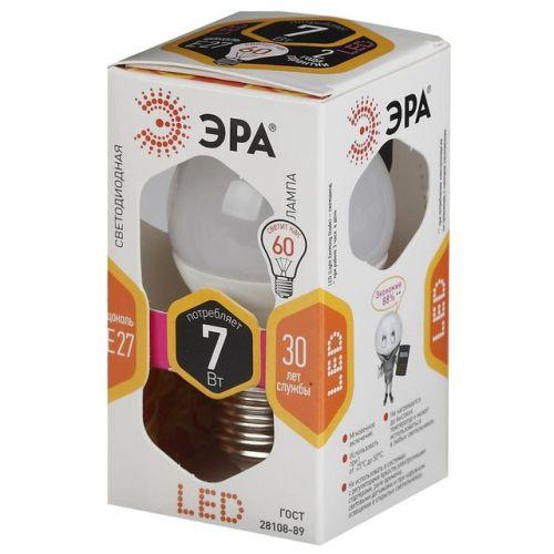 Лампа светодиодная 7 (60) Вт цоколь E27 шар теплый белый свет 30000 ч. LED SMD А45-7W-827-E27 ЭРА