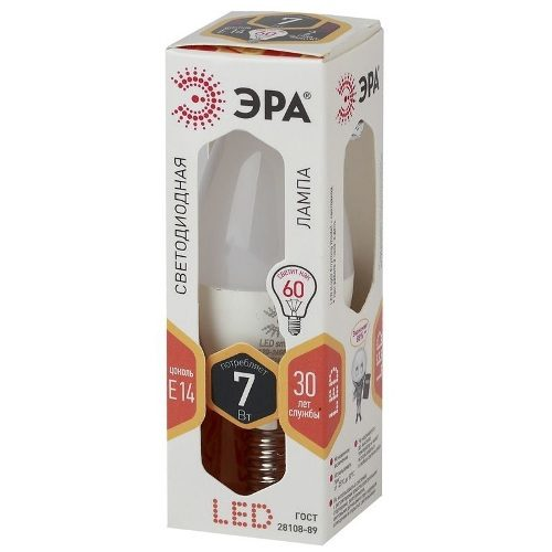 Лампа светодиодная 7 (60) Вт цоколь E14 свеча теплый белый свет 30000 ч. LED SMD B35-7W-827-E14 ЭРА